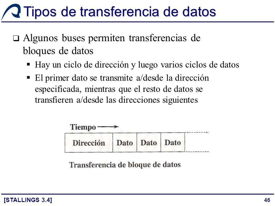 46 Tipos de transferencia de datos Algunos buses permiten transferencias de bloques de datos Hay un ciclo de dirección y luego varios ciclos de datos
