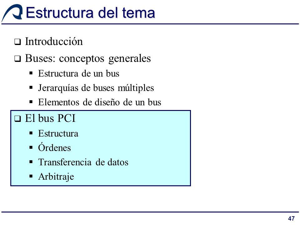 47 Estructura del tema Introducción Buses: conceptos generales Estructura de un bus Jerarquías de buses múltiples Elementos de diseño de un bus El bus