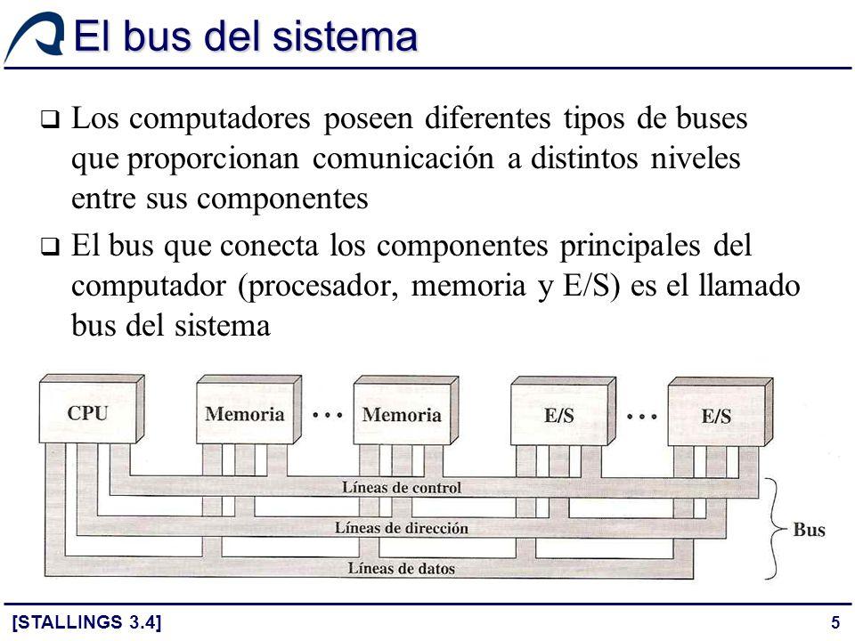 36 Temporización El término temporización hace referencia a la forma en la que se coordinan los eventos en el bus Con temporización síncrona, la presencia de un evento en el bus está determinada por una señal de reloj El reloj es una línea del bus a través de la que se transmite una secuencia de 1s y 0s a intervalos regulares de igual duración El ciclo de reloj o de bus es el intervalo mínimo en el que la señal toma los dos valores posibles y define la unidad de medida del tiempo dentro del bus (time slot) Todos los eventos empiezan al principio del ciclo de bus Con temporización asíncrona, la presencia de un evento en el bus es consecuencia y depende de que se produzca un evento previo [STALLINGS 3.4]