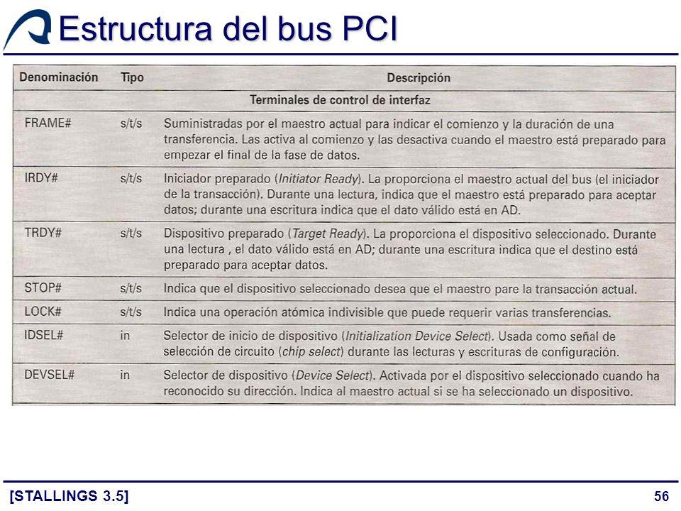 56 Estructura del bus PCI [STALLINGS 3.5]