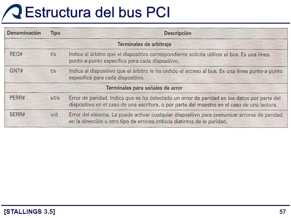 57 Estructura del bus PCI [STALLINGS 3.5]