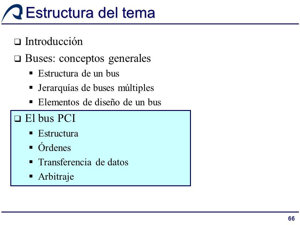 66 Estructura del tema Introducción Buses: conceptos generales Estructura de un bus Jerarquías de buses múltiples Elementos de diseño de un bus El bus