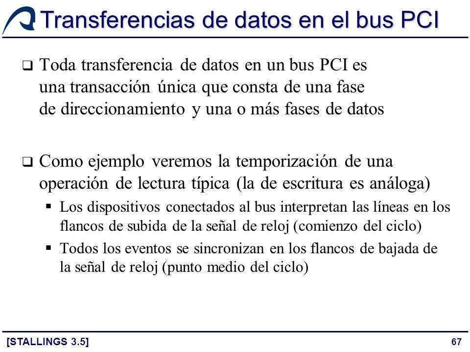 67 Transferencias de datos en el bus PCI [STALLINGS 3.5] Toda transferencia de datos en un bus PCI es una transacción única que consta de una fase de