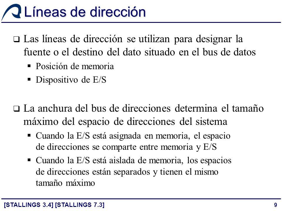 9 Líneas de dirección Las líneas de dirección se utilizan para designar la fuente o el destino del dato situado en el bus de datos Posición de memoria