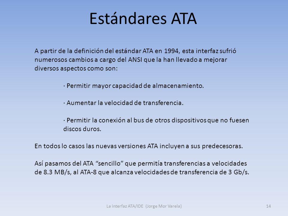Estándares ATA La interfaz ATA/IDE (Jorge Mor Varela)14 A partir de la definición del estándar ATA en 1994, esta interfaz sufrió numerosos cambios a c