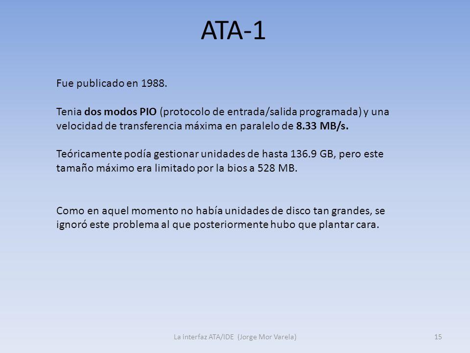 ATA-1 La interfaz ATA/IDE (Jorge Mor Varela)15 Fue publicado en 1988. Tenia dos modos PIO (protocolo de entrada/salida programada) y una velocidad de