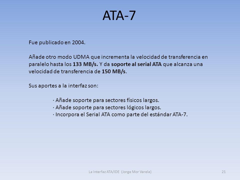 ATA-7 La interfaz ATA/IDE (Jorge Mor Varela)21 Fue publicado en 2004. Añade otro modo UDMA que incrementa la velocidad de transferencia en paralelo ha