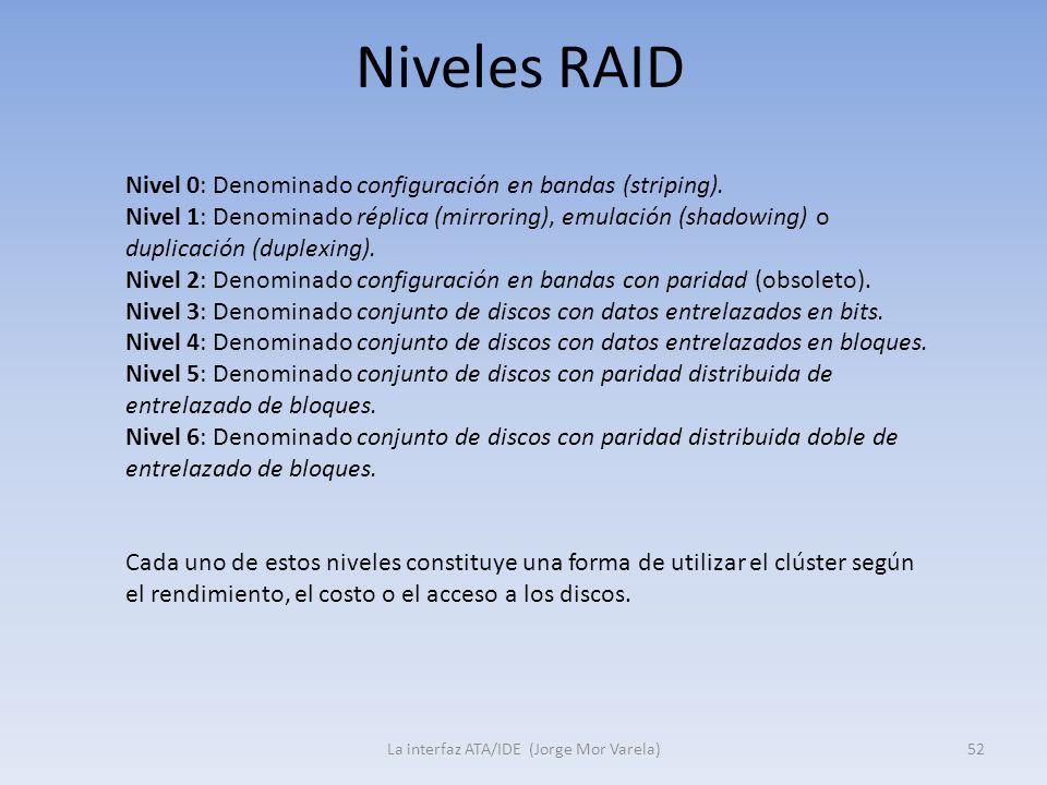 Niveles RAID La interfaz ATA/IDE (Jorge Mor Varela)52 Nivel 0: Denominado configuración en bandas (striping). Nivel 1: Denominado réplica (mirroring),