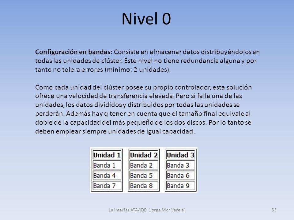 Nivel 0 La interfaz ATA/IDE (Jorge Mor Varela)53 Configuración en bandas: Consiste en almacenar datos distribuyéndolos en todas las unidades de clúste