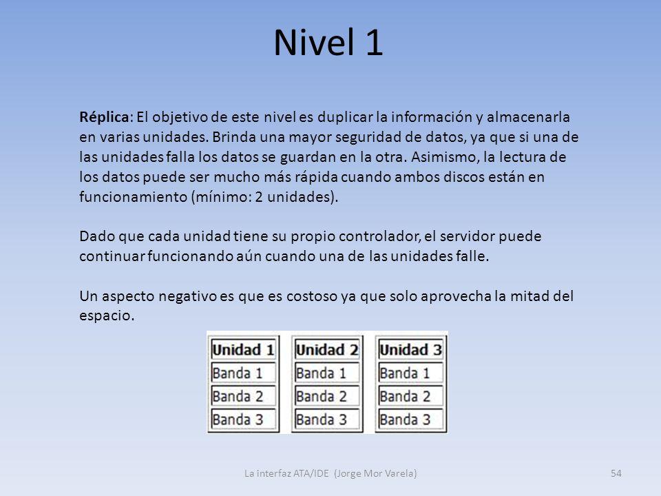 Nivel 1 La interfaz ATA/IDE (Jorge Mor Varela)54 Réplica: El objetivo de este nivel es duplicar la información y almacenarla en varias unidades. Brind