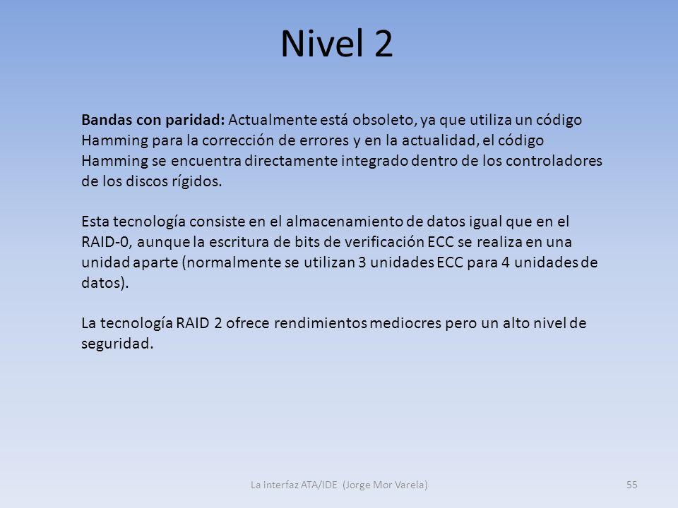 Nivel 2 La interfaz ATA/IDE (Jorge Mor Varela)55 Bandas con paridad: Actualmente está obsoleto, ya que utiliza un código Hamming para la corrección de