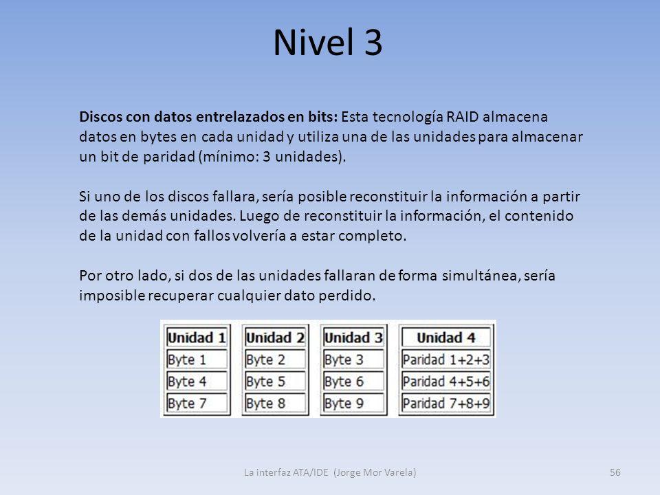 Nivel 3 La interfaz ATA/IDE (Jorge Mor Varela)56 Discos con datos entrelazados en bits: Esta tecnología RAID almacena datos en bytes en cada unidad y