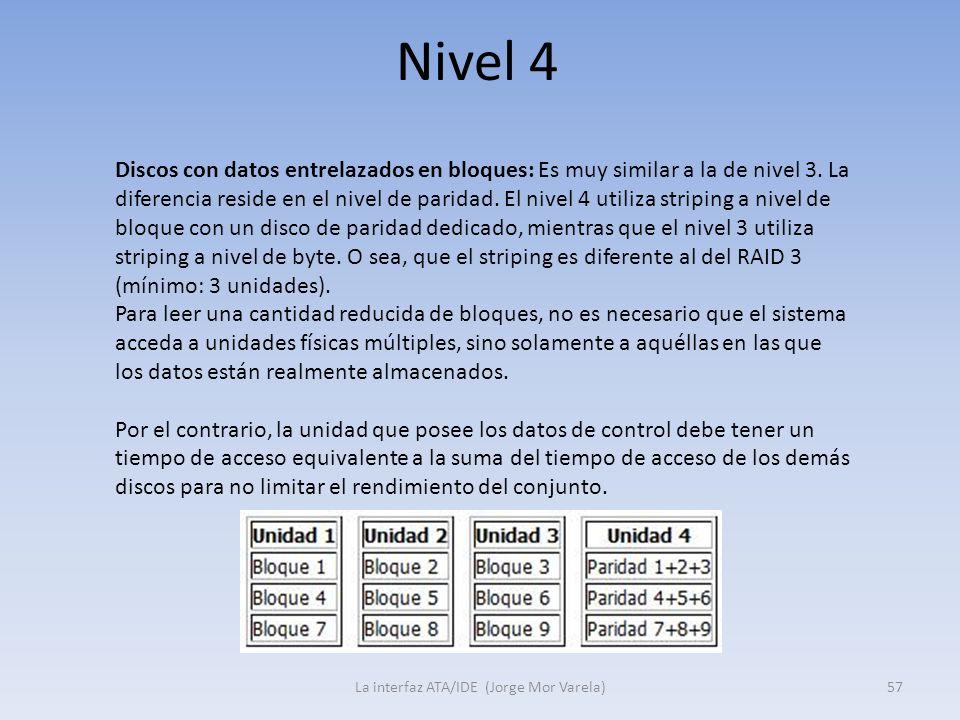 Nivel 4 La interfaz ATA/IDE (Jorge Mor Varela)57 Discos con datos entrelazados en bloques: Es muy similar a la de nivel 3. La diferencia reside en el