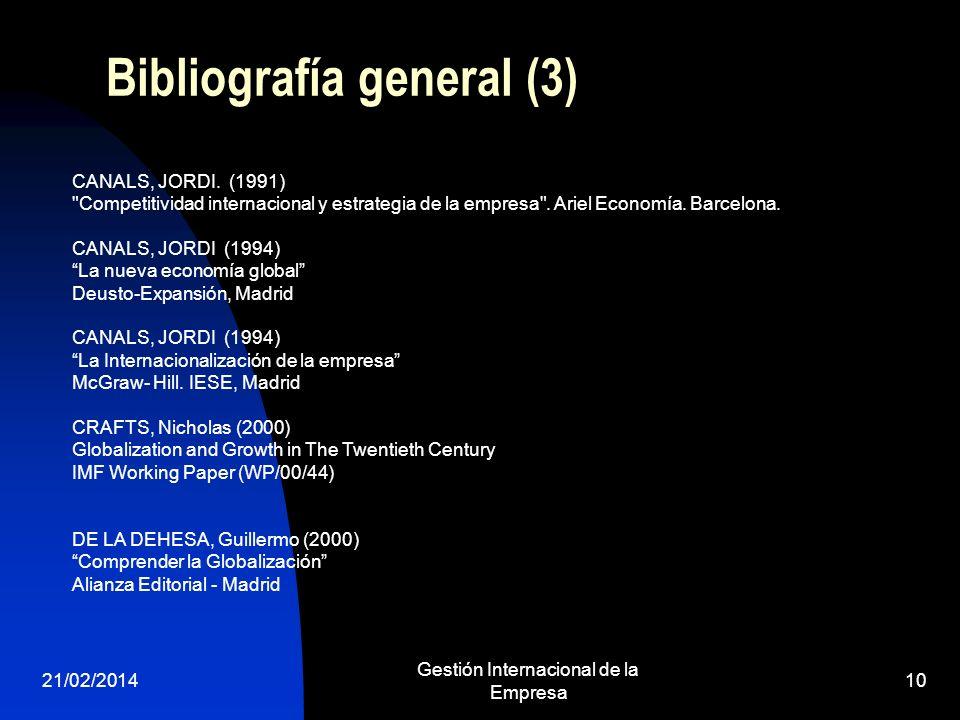 21/02/2014 Gestión Internacional de la Empresa 10 Bibliografía general (3) CANALS, JORDI. (1991)