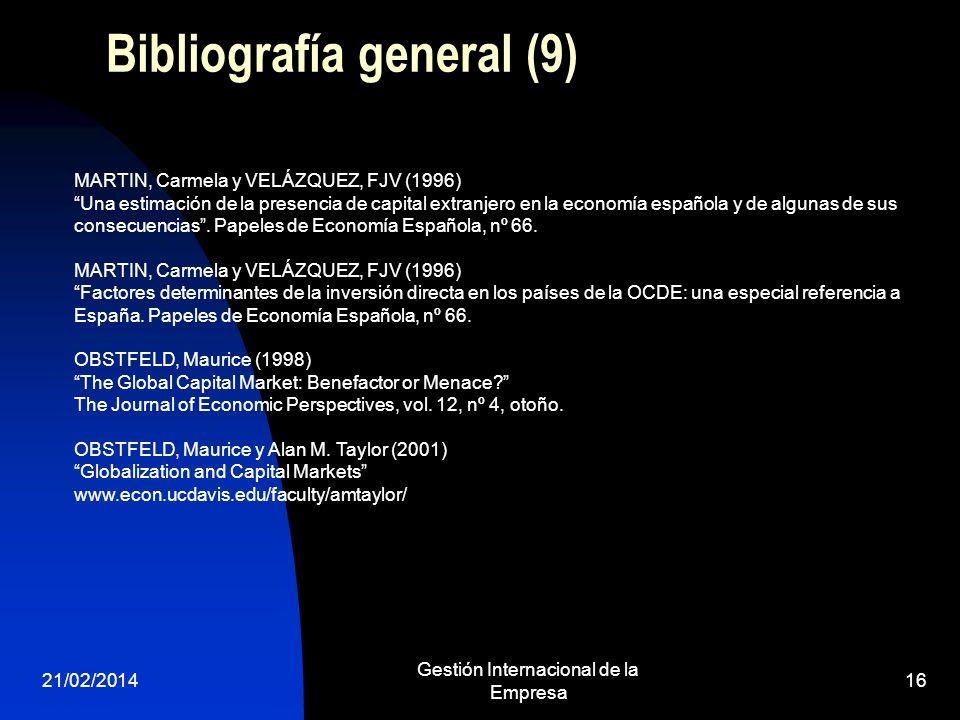 21/02/2014 Gestión Internacional de la Empresa 16 Bibliografía general (9) MARTIN, Carmela y VELÁZQUEZ, FJV (1996) Una estimación de la presencia de c