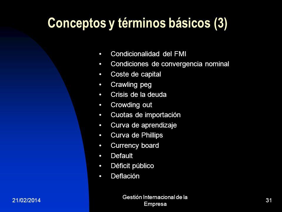 21/02/2014 Gestión Internacional de la Empresa 31 Conceptos y términos básicos (3) Condicionalidad del FMI Condiciones de convergencia nominal Coste d