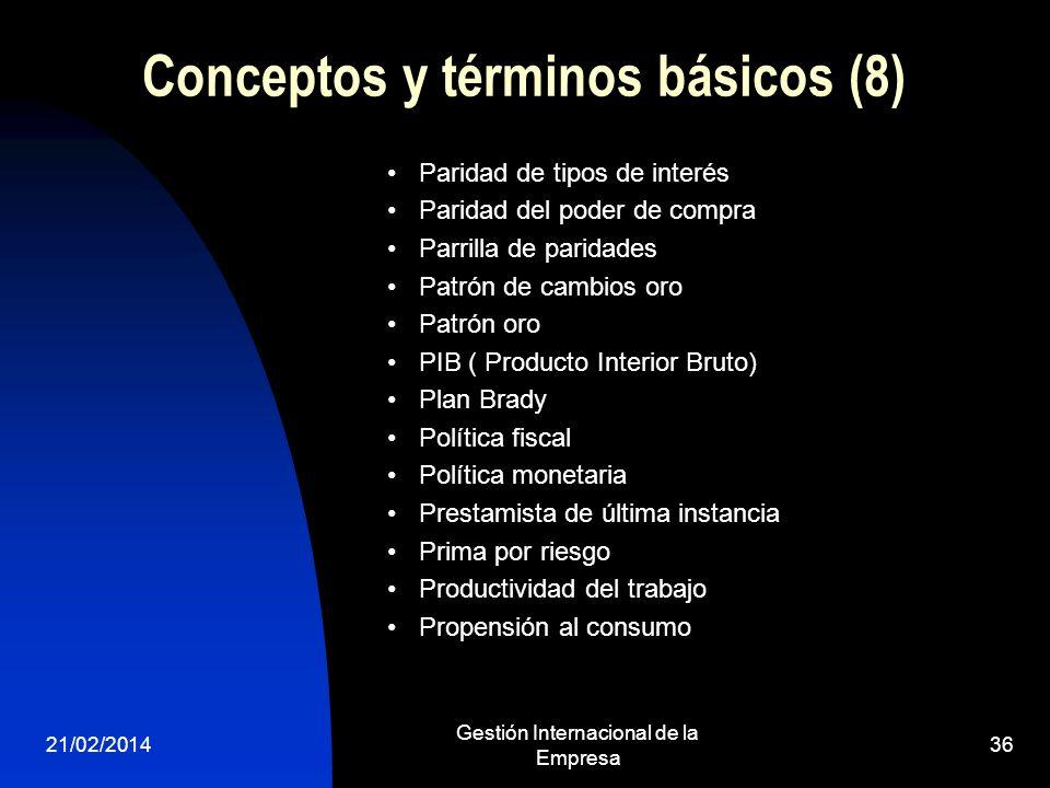21/02/2014 Gestión Internacional de la Empresa 36 Conceptos y términos básicos (8) Paridad de tipos de interés Paridad del poder de compra Parrilla de