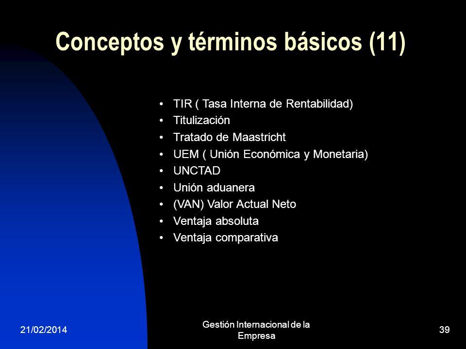 21/02/2014 Gestión Internacional de la Empresa 39 Conceptos y términos básicos (11) TIR ( Tasa Interna de Rentabilidad) Titulización Tratado de Maastr