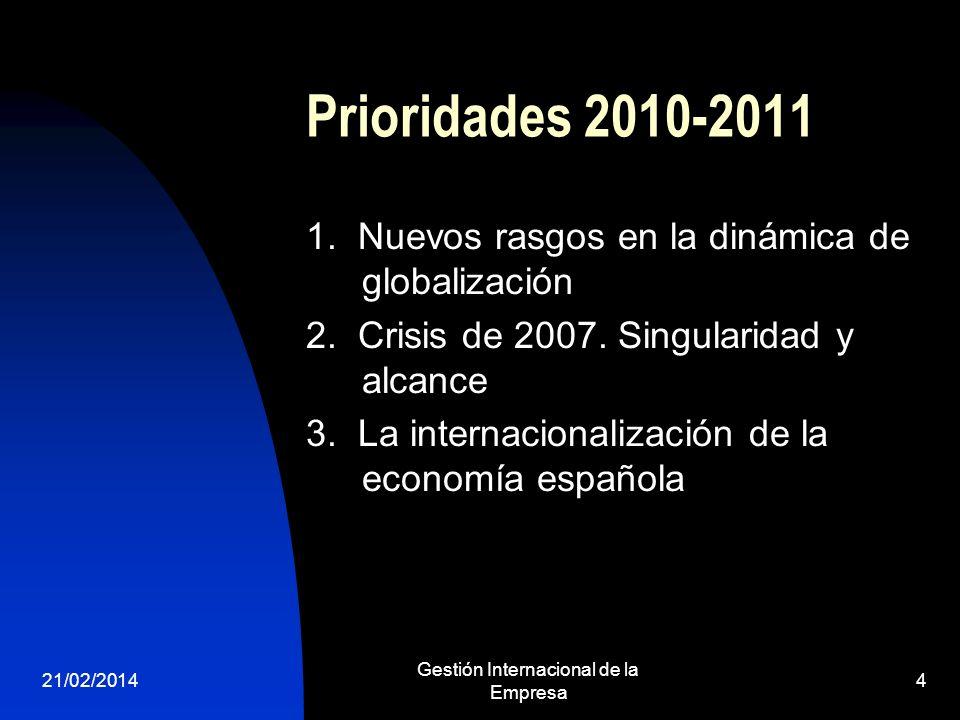 Prioridades 2010-2011 1. Nuevos rasgos en la dinámica de globalización 2. Crisis de 2007. Singularidad y alcance 3. La internacionalización de la econ
