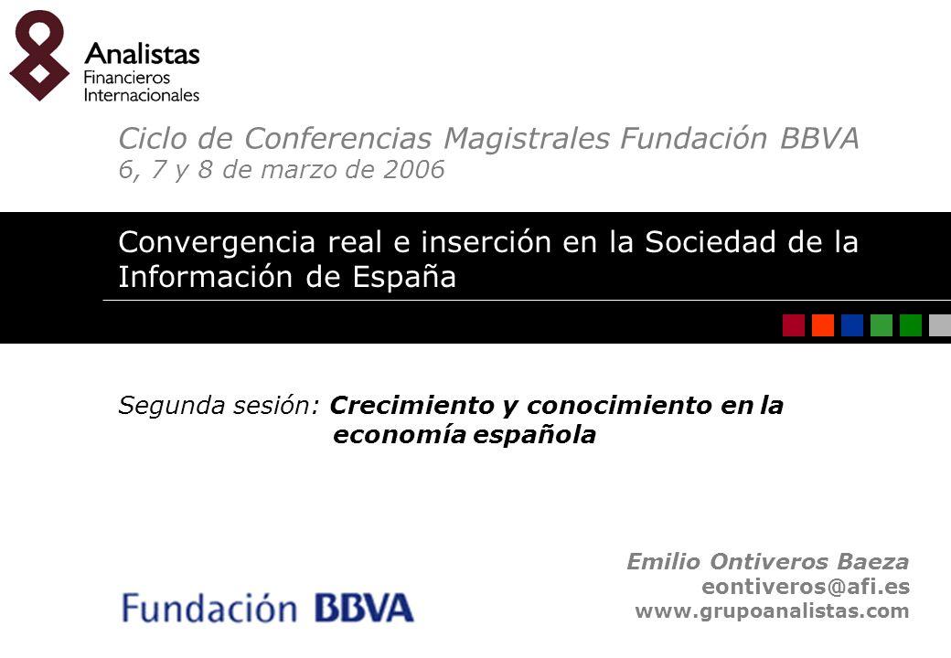 Convergencia real e inserción en la Sociedad de la Información de España. Emilio Ontiveros Baeza 1 Emilio Ontiveros Baeza eontiveros@afi.es www.grupoa