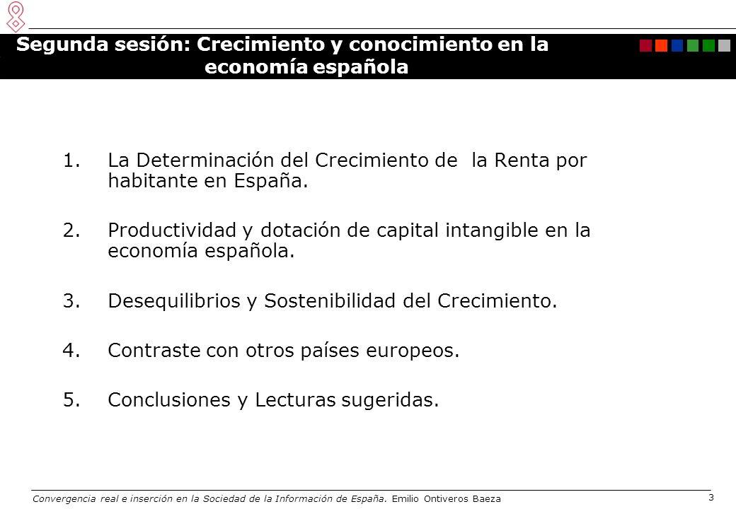 Convergencia real e inserción en la Sociedad de la Información de España. Emilio Ontiveros Baeza 3 Segunda sesión: Crecimiento y conocimiento en la ec