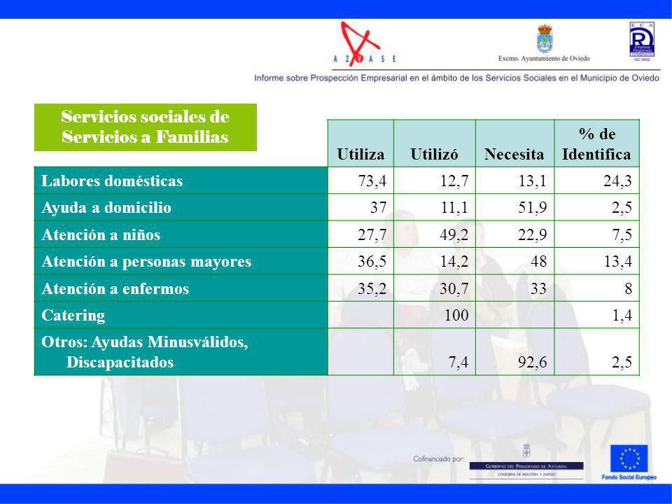 UtilizaUtilizóNecesita % de Identifica Labores domésticas73,412,713,124,3 Ayuda a domicilio3711,151,92,5 Atención a niños27,749,222,97,5 Atención a pe