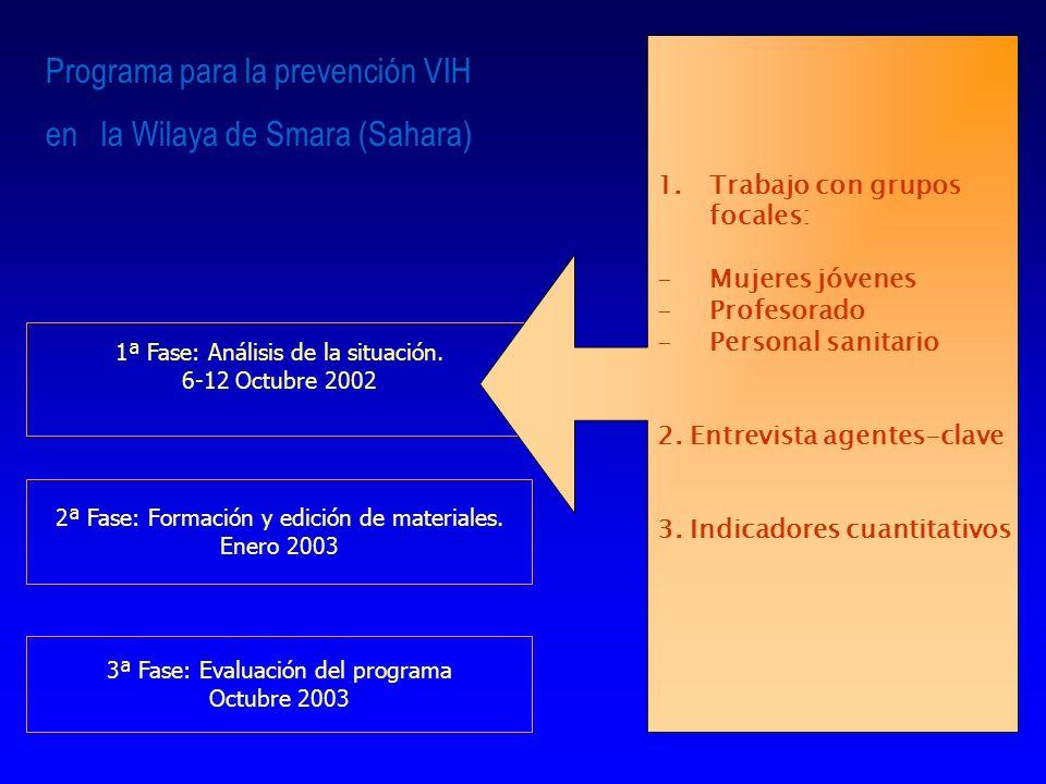 1ª Fase: Análisis de la situación. 6-12 Octubre 2002 2ª Fase: Formación y edición de materiales. Enero 2003 3ª Fase: Evaluación del programa Octubre 2