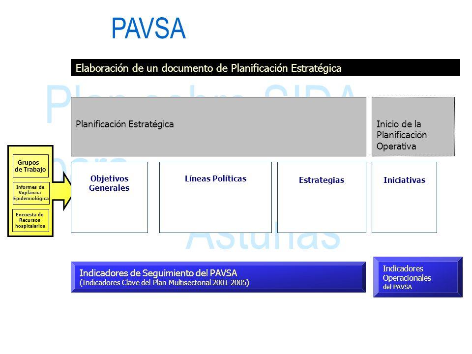 Plan sobre SIDA para Asturias Grupos de Trabajo Encuesta de Recursos hospitalarios Informes de Vigilancia Epidemiológica Elaboración de un documento d