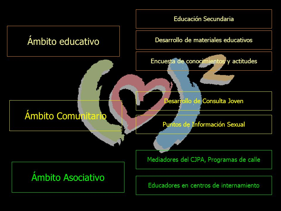 Educación Secundaria Desarrollo de materiales educativos Encuesta de conocimientos y actitudes Ámbito educativo Ámbito Comunitario Desarrollo de Consulta Joven Puntos de Información Sexual Mediadores del CJPA, Programas de calle Ámbito Asociativo Educadores en centros de internamiento