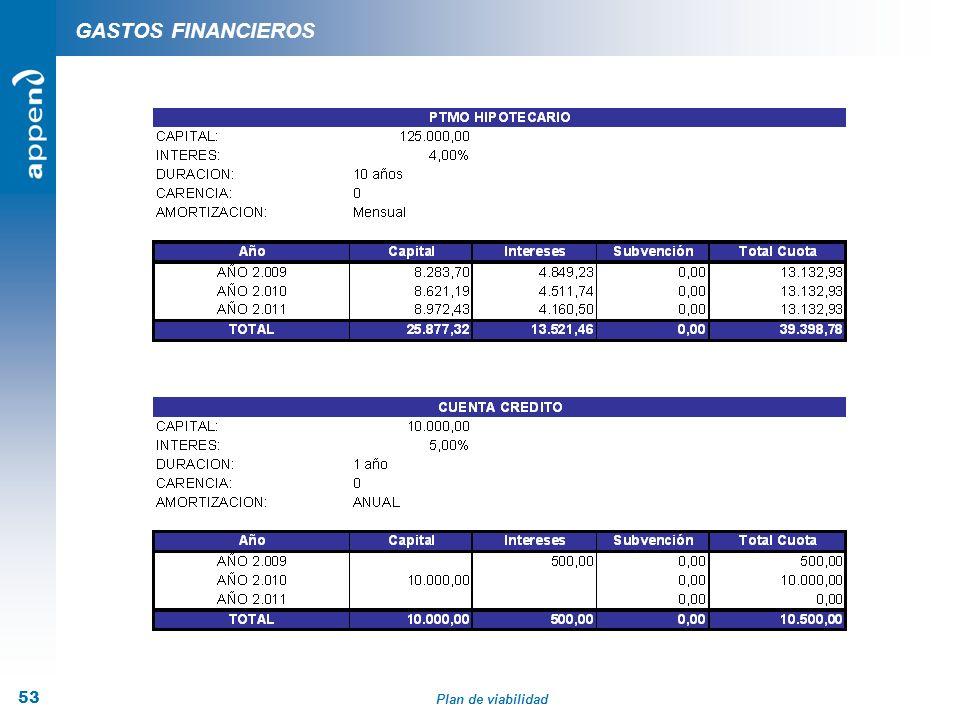 Plan de viabilidad 53 GASTOS FINANCIEROS