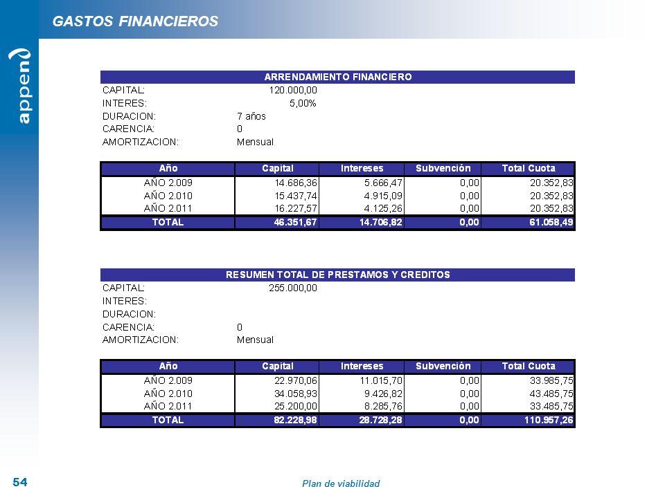 Plan de viabilidad 54 GASTOS FINANCIEROS