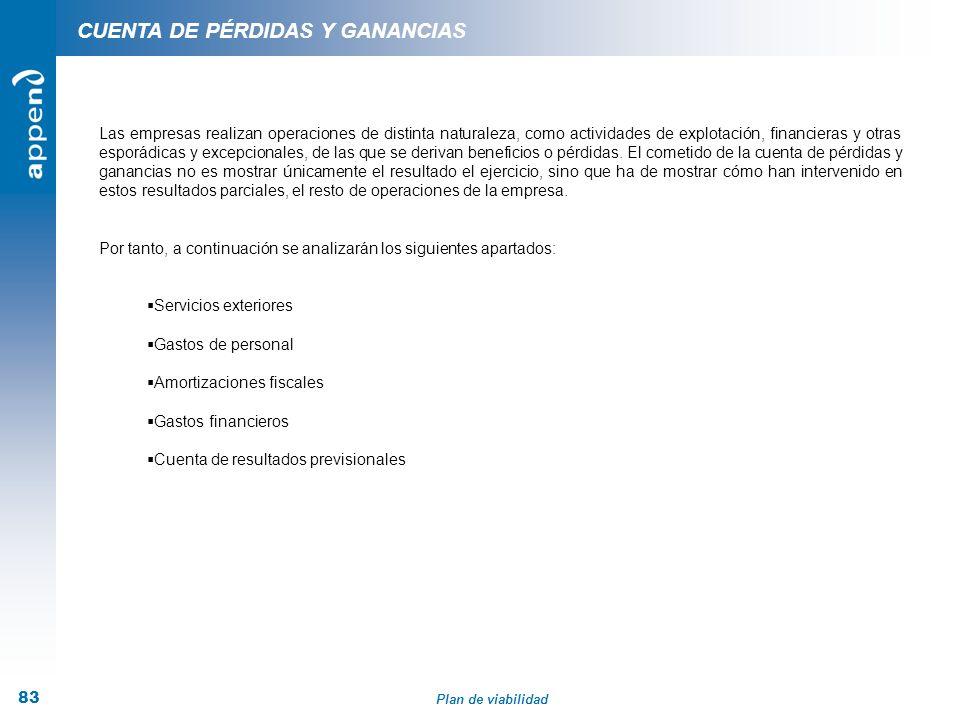 Plan de viabilidad 83 CUENTA DE PÉRDIDAS Y GANANCIAS Las empresas realizan operaciones de distinta naturaleza, como actividades de explotación, financ