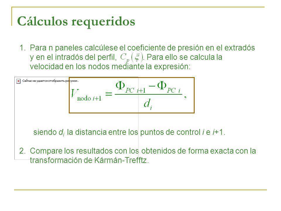1.Para n paneles calcúlese el coeficiente de presión en el extradós y en el intradós del perfil,. Para ello se calcula la velocidad en los nodos media