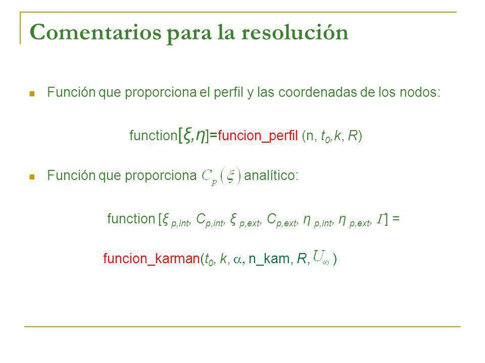 Comentarios para la resolución Función que proporciona el perfil y las coordenadas de los nodos: function [ξ,η ]= funcion_perfil (n, t 0,k, R) Función