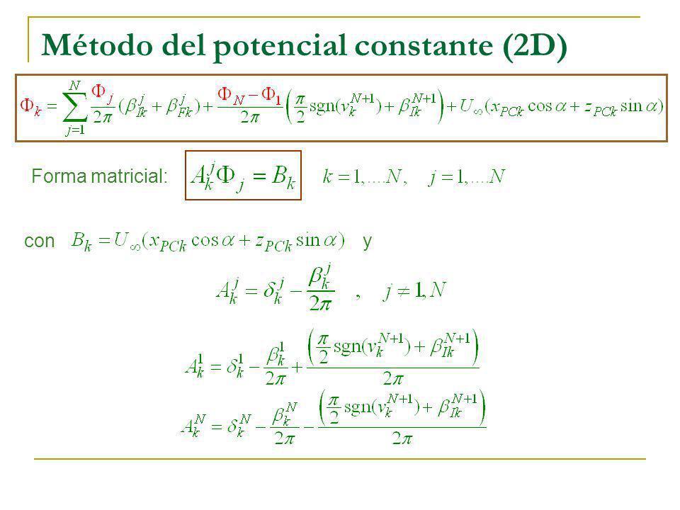 Método del potencial constante (2D) Forma matricial: con y