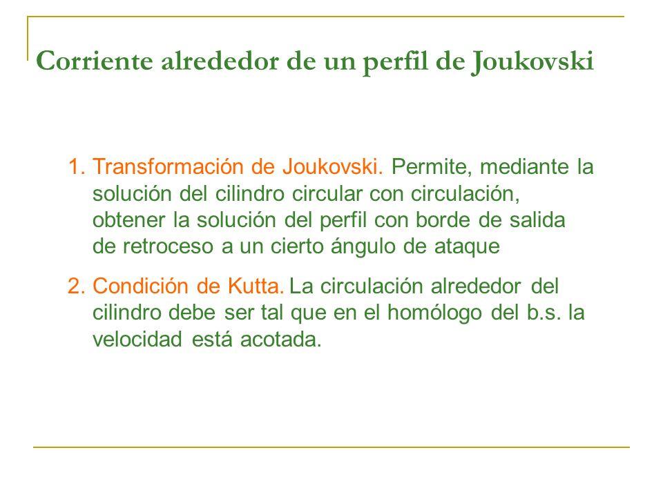Corriente alrededor de un perfil de Joukovski 1.Transformación de Joukovski. Permite, mediante la solución del cilindro circular con circulación, obte