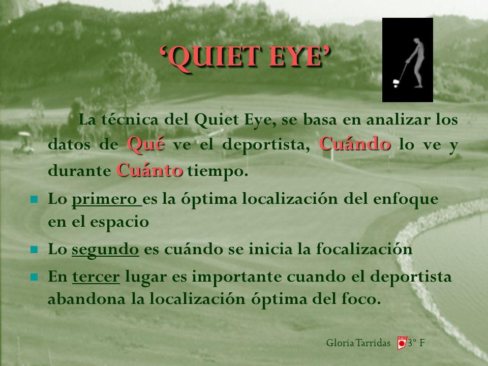 Gloria Tarridas 3º F QUIET EYE QuéCuándo Cuánto La técnica del Quiet Eye, se basa en analizar los datos de Qué ve el deportista, Cuándo lo ve y durante Cuánto tiempo.