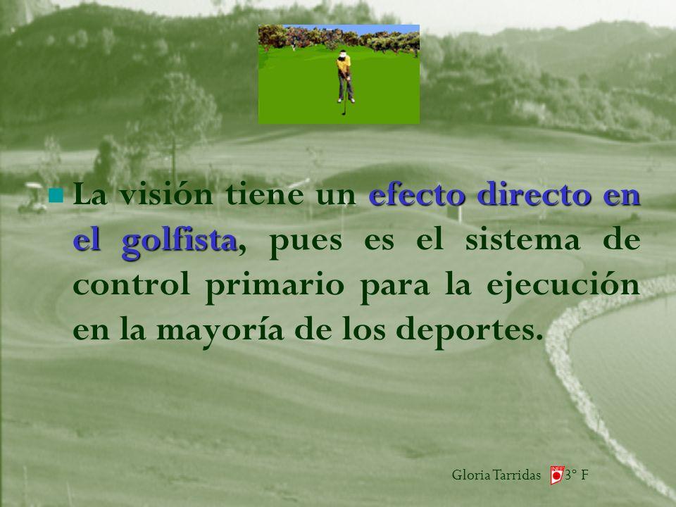 Gloria Tarridas 3º F efecto directo en el golfista La visión tiene un efecto directo en el golfista, pues es el sistema de control primario para la ejecución en la mayoría de los deportes.