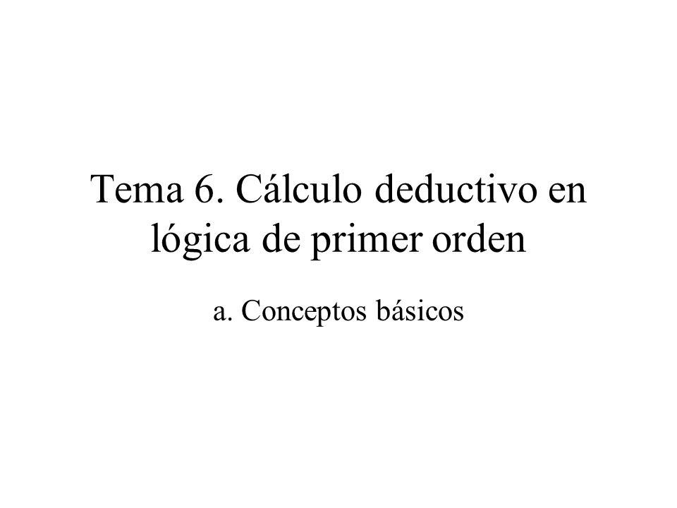 Tema 6. Cálculo deductivo en lógica de primer orden a. Conceptos básicos