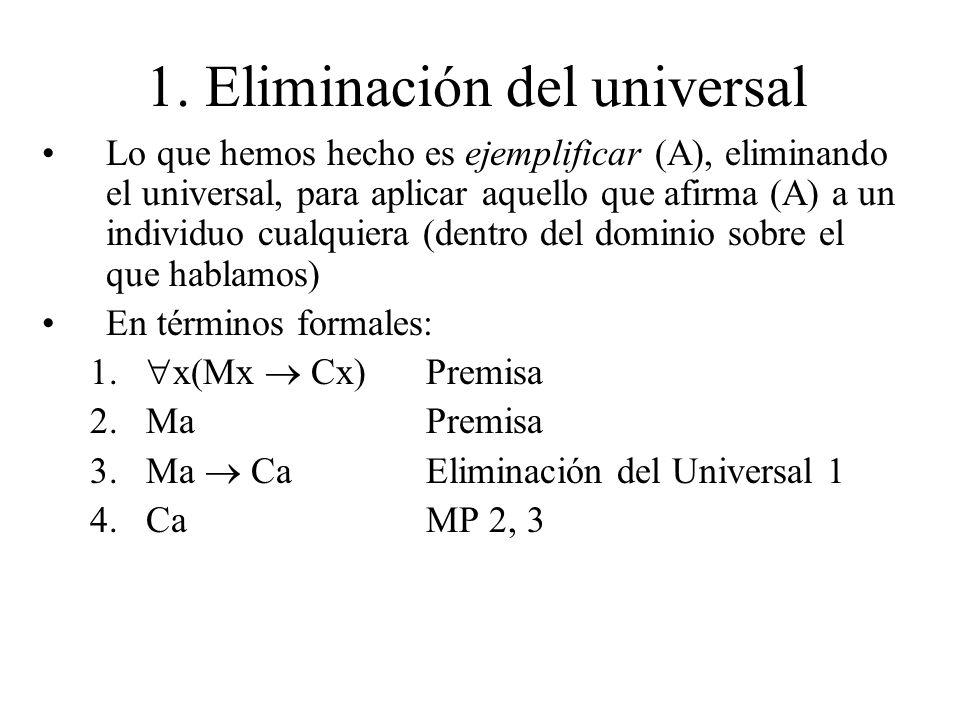 1. Eliminación del universal Lo que hemos hecho es ejemplificar (A), eliminando el universal, para aplicar aquello que afirma (A) a un individuo cualq