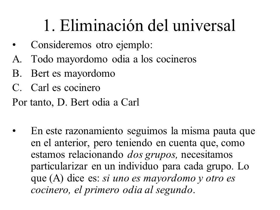 1. Eliminación del universal Consideremos otro ejemplo: A.Todo mayordomo odia a los cocineros B.Bert es mayordomo C.Carl es cocinero Por tanto, D. Ber