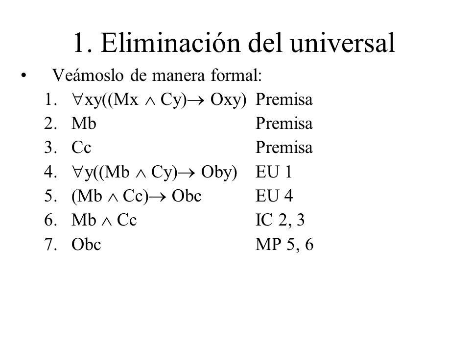 1. Eliminación del universal Veámoslo de manera formal: 1. xy((Mx Cy) Oxy)Premisa 2.MbPremisa 3.CcPremisa 4. y((Mb Cy) Oby)EU 1 5.(Mb Cc) ObcEU 4 6.Mb