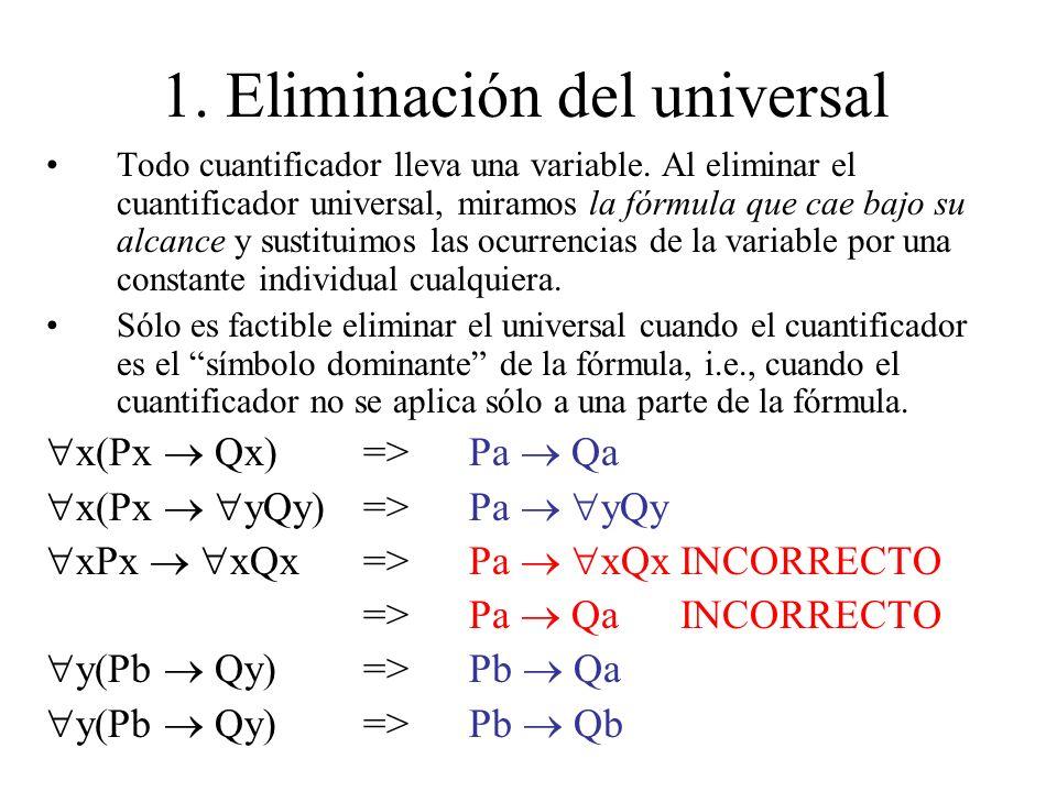 1. Eliminación del universal Todo cuantificador lleva una variable. Al eliminar el cuantificador universal, miramos la fórmula que cae bajo su alcance