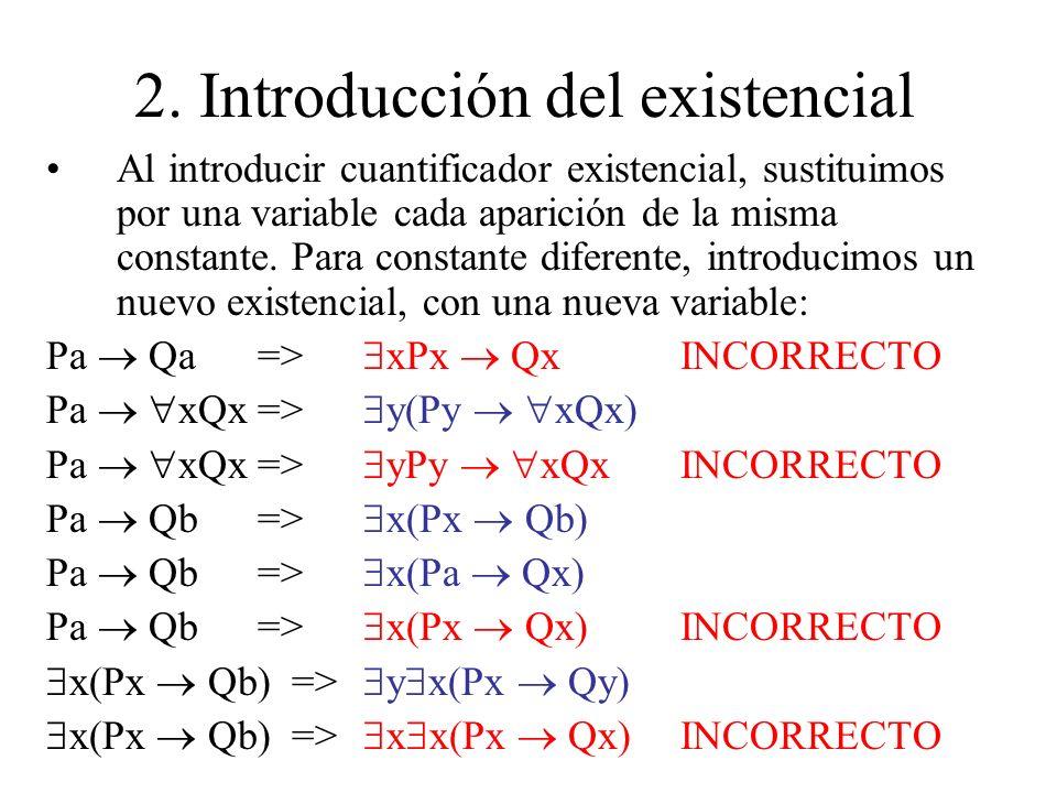 2. Introducción del existencial Al introducir cuantificador existencial, sustituimos por una variable cada aparición de la misma constante. Para const
