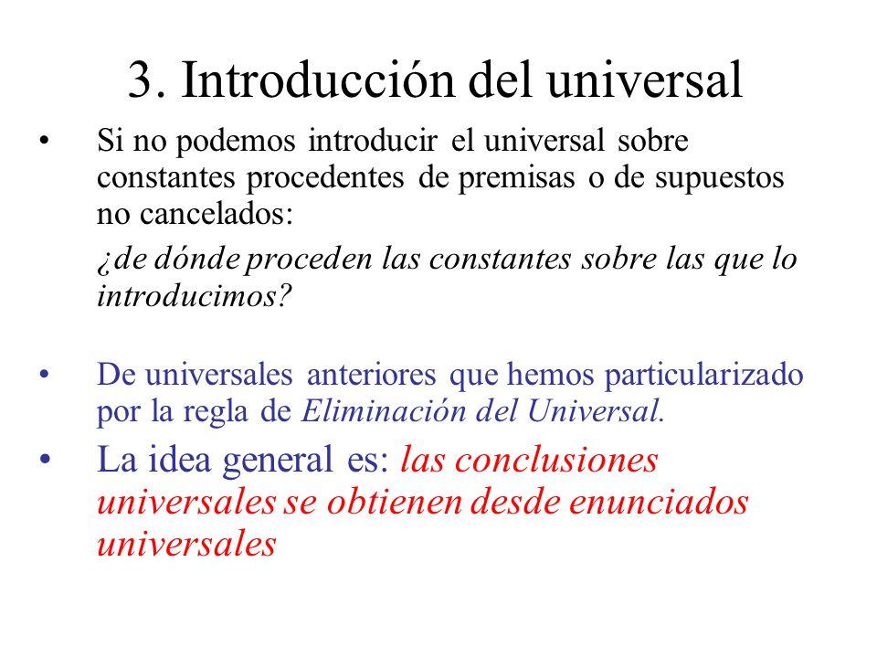 3. Introducción del universal Si no podemos introducir el universal sobre constantes procedentes de premisas o de supuestos no cancelados: ¿de dónde p