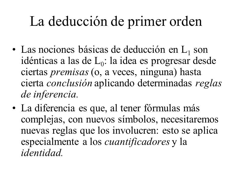 La deducción de primer orden Las nociones básicas de deducción en L 1 son idénticas a las de L 0 : la idea es progresar desde ciertas premisas (o, a v