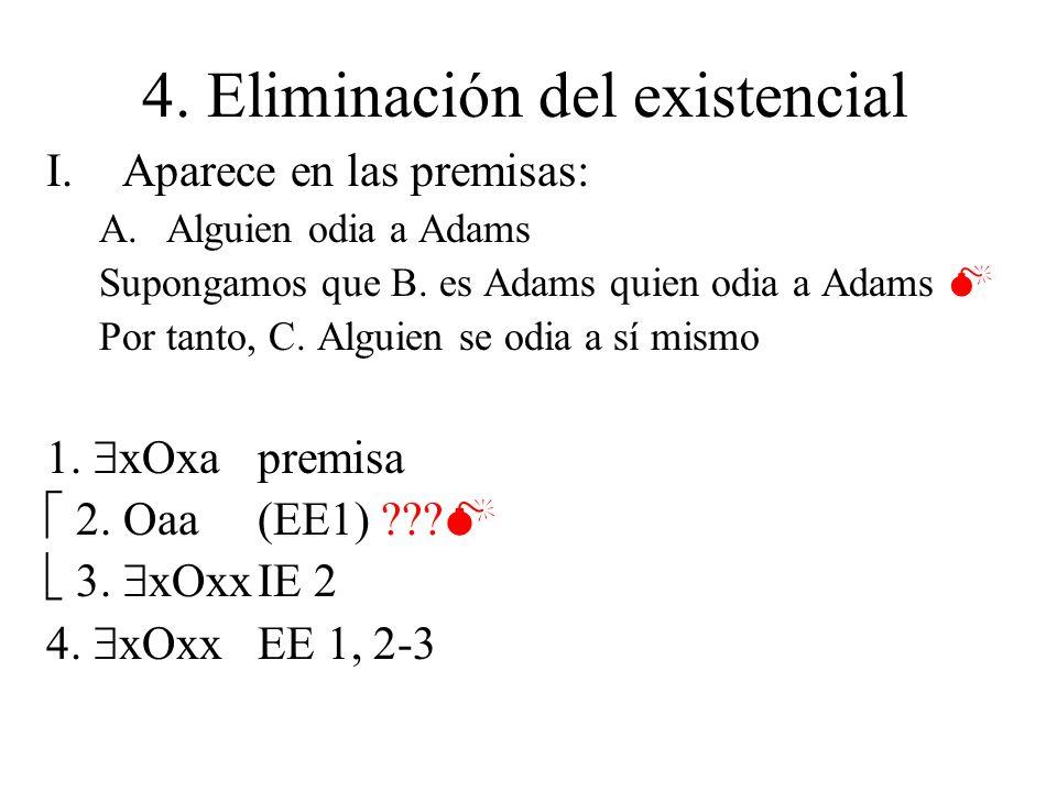 4. Eliminación del existencial I.Aparece en las premisas: A.Alguien odia a Adams Supongamos que B. es Adams quien odia a Adams Por tanto, C. Alguien s