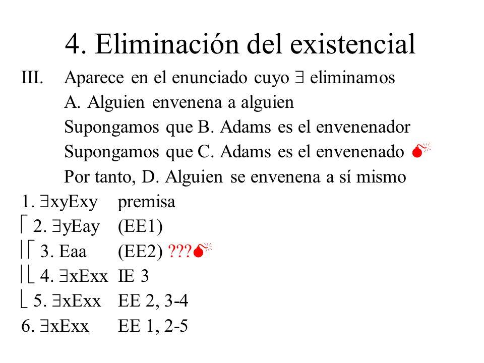 4. Eliminación del existencial III.Aparece en el enunciado cuyo eliminamos A. Alguien envenena a alguien Supongamos que B. Adams es el envenenador Sup