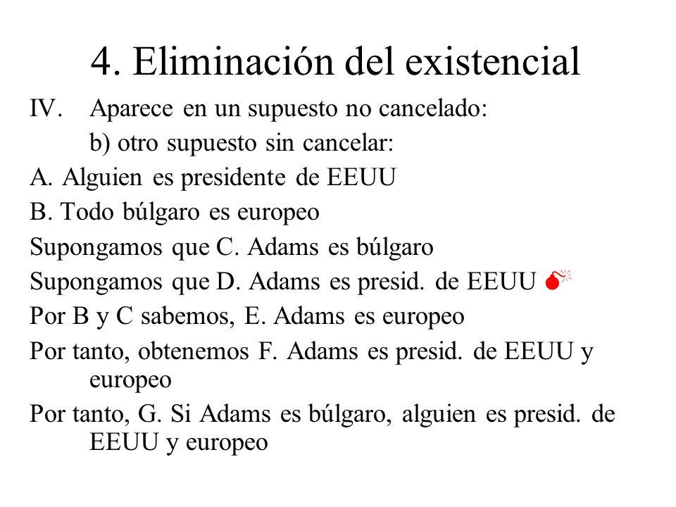 4. Eliminación del existencial IV.Aparece en un supuesto no cancelado: b) otro supuesto sin cancelar: A. Alguien es presidente de EEUU B. Todo búlgaro