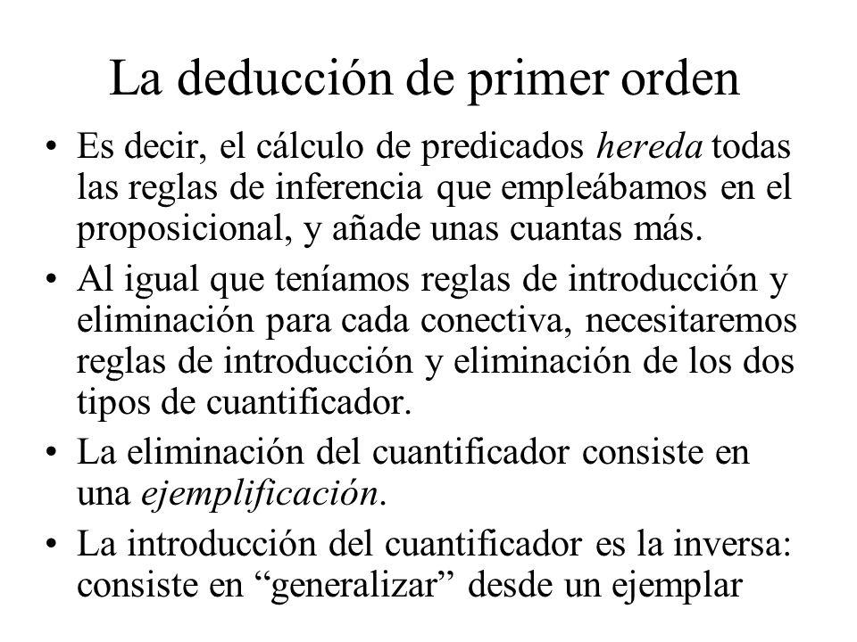 La deducción de primer orden Es decir, el cálculo de predicados hereda todas las reglas de inferencia que empleábamos en el proposicional, y añade una